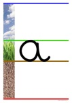 affichage - alphabet cursive - lignage terre herbe ciel - a