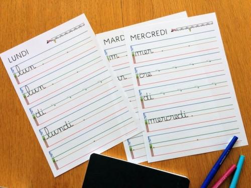 cahier d'écriture cursive - jours de la semaine