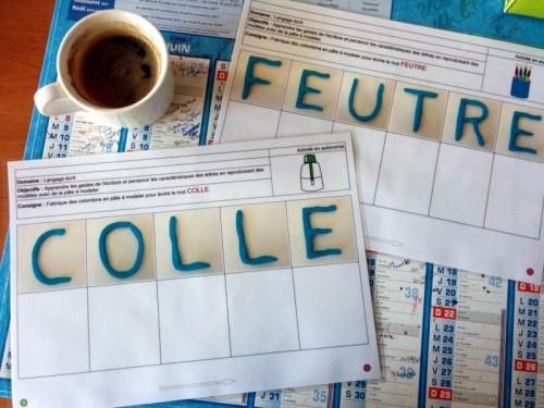 écrire en pate à modeler - les mots de la classe