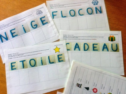 écrire en pâte à modeler - mots de noël