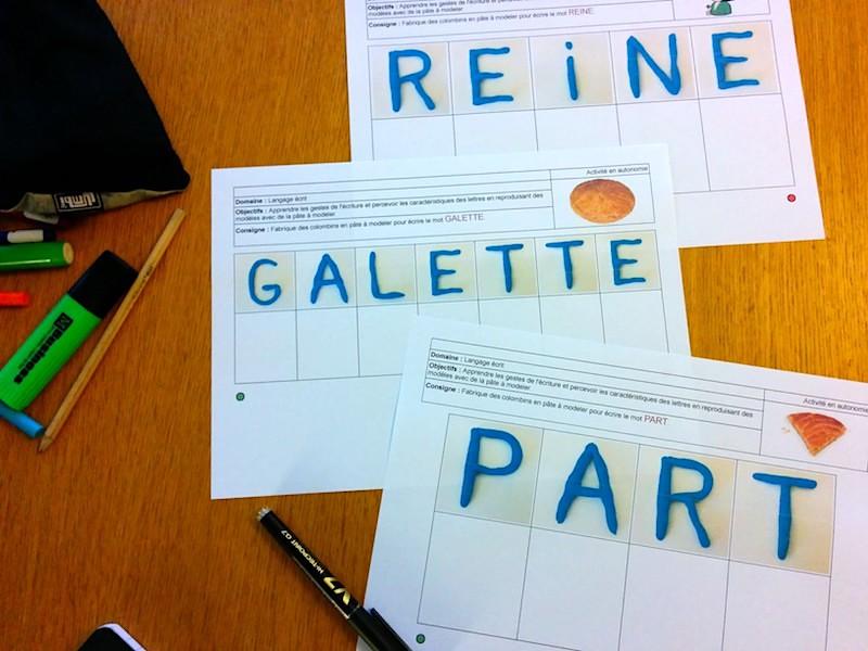 écrire en pâte à modeler - mots de la galette